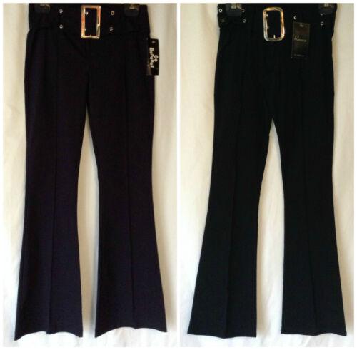 NUOVO Ragazze uniforme Stretch hipster Bootcut SCUOLA pantalone con cintura fibbia