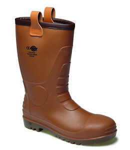 Dickies Groundwater Super Safety Waterproof Wellington Boots Brown (Sizes 4-12)