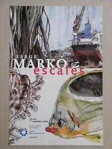 Serge-MARKO-Affiche-originale-ESCALES-PORT-VOYAGE-Peintre-Officiel-Marine-CARGO