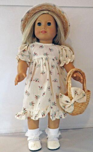 "Beige 3pc Dress Set with Red  Rosebud Design Fits 18/"" American Girl  Dolls"