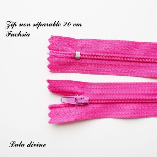 Couleur Fuchsia Zip// Fermeture éclair simple non séparable de 20 cm