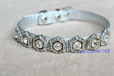 "Bling silver dog cat puppy pets gift rhinestone crystal cute soft collar 8/10"" S"