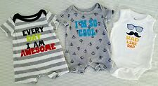 Baby Boys Newborn NB Spring Summer Clothes Lot, 3 Pieces, one piece Rompers. EUC