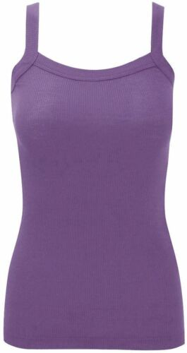 New Ladies Womens Plain Ribbed Stretchy Vest Top Strap Gym Cami Plus Sizes 8-26
