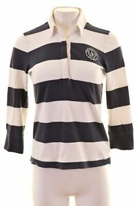 ABERCROMBIE-amp-FITCH-pour-Femme-Polo-Shirt-a-Manches-3-4-Taille-10-Petit-Blanc-IJ11