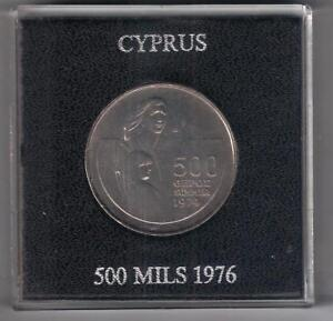CYPRUS 1976 REFUGEES 1974 UNCIRCULATED 500 MILS COIN IN OFFICIAL ROYAL MINT CASE