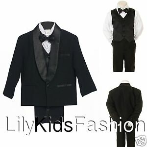 New Baby Toddler Youth Boys Red /& Black Vest Suit Outfit 4 Piece Wedding Easter