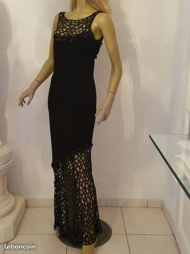 Longue Bon Etat Soiree De Tres Elegante Chic Noire Robe Dos Luxueuse Et Nu qwCE4gxnA