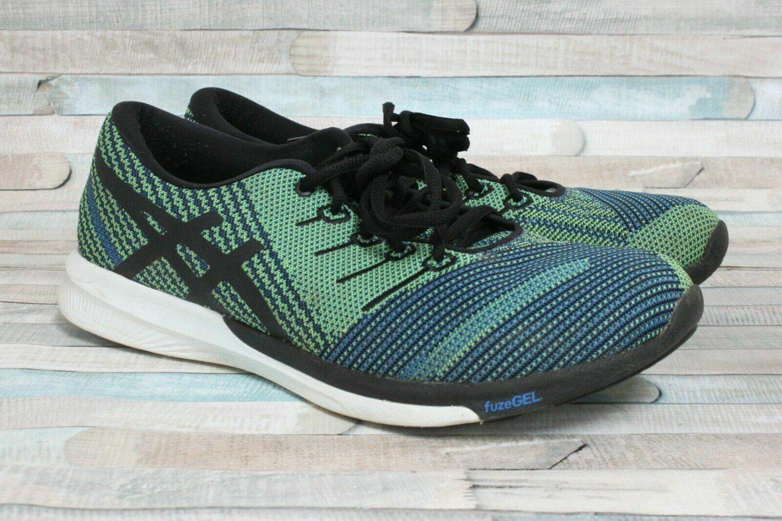 Asics T829N 4390 fuzeX Knit bluee Black Men's Running shoes Size 8.5 US