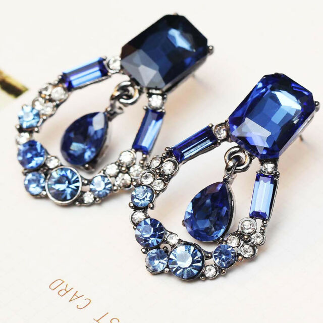 "fashion show lady Statement clear crystal long Ear Studs earrings  1 1/2"" e281"
