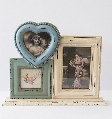 Delilah Triple Heart Standing Photo Frame Shabby Chic Blue Cream Green 33.5x27cm