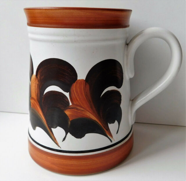 Denby Pottery pint mug hand painted designed by Trish Seal vintage 1970s tankard