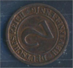 German-Empire-Jagerno-307-1923-F-ext-fine-2-Rentenpfennig-7862413