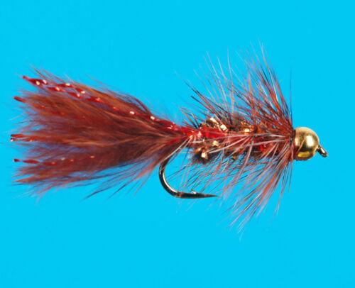 size 12 6 pcs Brown Bead Head Mini Sparkle Bugger