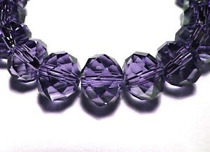 30Pc-8mm-Fine-Austrian-Crystal-Faceted-Rondelle-Abacus-Beads-Purple-BR810