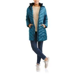 Big 887310769366 Coat Women's Blend Størrelse Chevron Long Down M Quilt Chill Hooded SSxrU