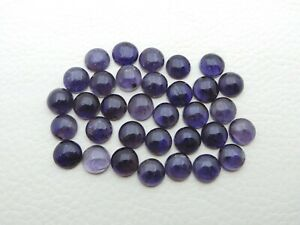 Natural Iolite Calibrated Size 8 mm Round Cabochon Wholesale Lot 15-Piece S298