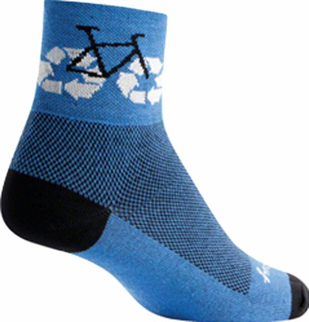 SockGuy Classic Recycle Bike Sock Blue Lg//xl for sale online