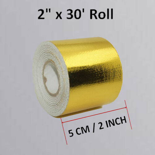 """2/""""x32/' Roll Self Adhesive Reflective Gold High Temperature Heat Shield Wrap Tape"""