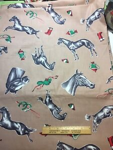Vintage-Cotton-Fabric-40s50s-Horse-Racing-Tack-Trophies-NOVELTY-36w-1yd
