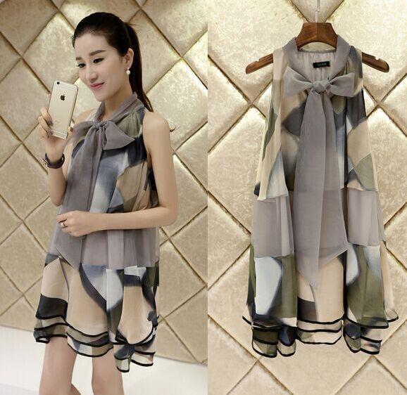 2015 summer new Korean fashion printed wide Songou organza sleeveless dress