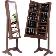 Beautify Mirrored Jewelry Makeup Armoire With LED Lights Floor
