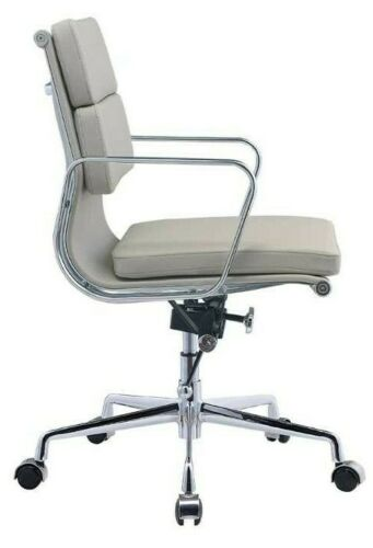 Modern Style Low Back Soft Pad Leather Office Chair Grey