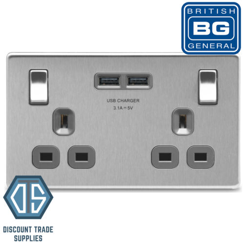 BG Nexus FBS22U3G Screwless Brushed Steel Grey USB 3.1A Double Switch Socket