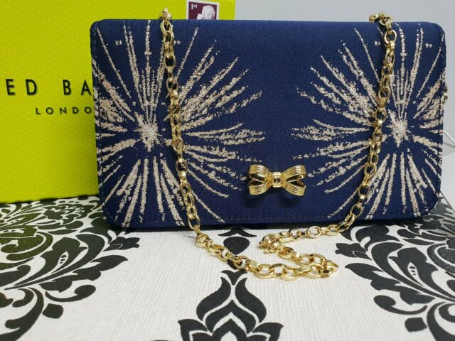 TED BAKER Ladies STARDUST Navy Bow detail Clutch Crossbody Evening Bag