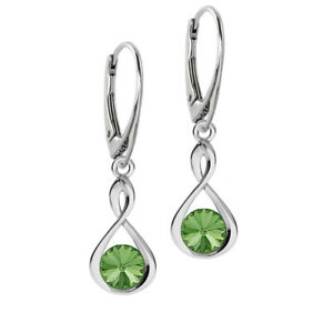 Details About 925 Sterling Silver Earrings Infinity Peridot Genuine Crystals From Swarovski