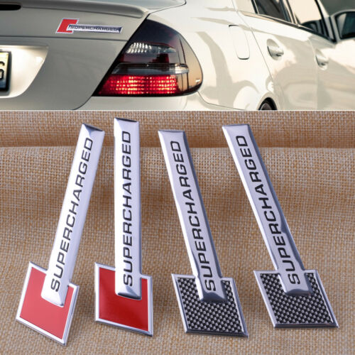 2pcs Universal Supercharged Aluminum Alloy Adhesive Sticker Decal Emblem Badge