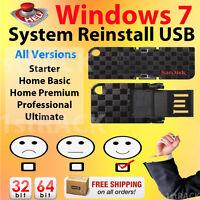 Windows 7 Reinstall Recovery Usb Flash Drive All Versions Sp1 W/hd