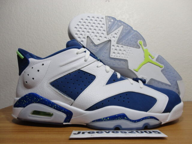 7313e101146c Air Jordan 6 Retro Low Size 13 Seahawks WHT Ghost Green Insignia Blue  304401 106 for sale online