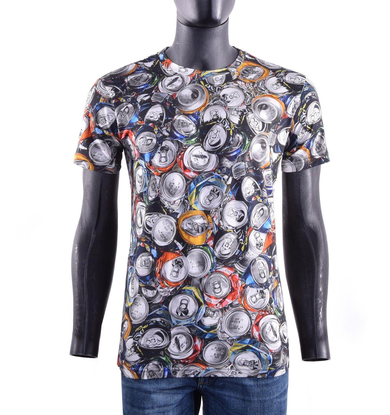 MOSCHINO COUTURE RUNWAY T-Shirt mit Dosen Print Grau Mehrfarbig Baumwolle 05426