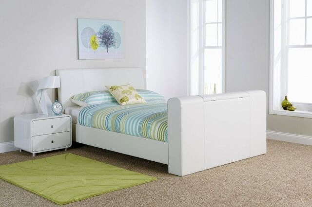 4ft 6 Double White Faux Leather TV Bed Bedstead | eBay