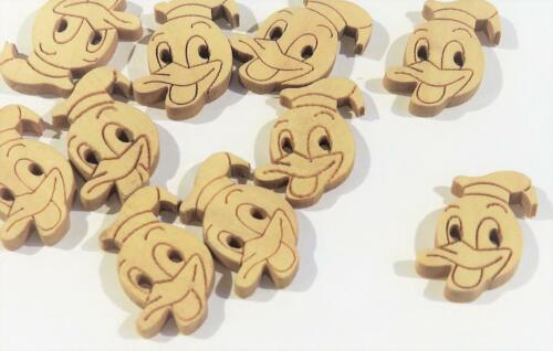 Paquete de 20 Botones de Madera Lindo Pato Donald 22 X 15mm H177..