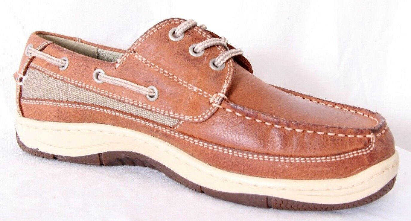 Chaps Schooner Lt Brown Leather Canvas Slip-On Cushioned Boat shoes Men's US 8W
