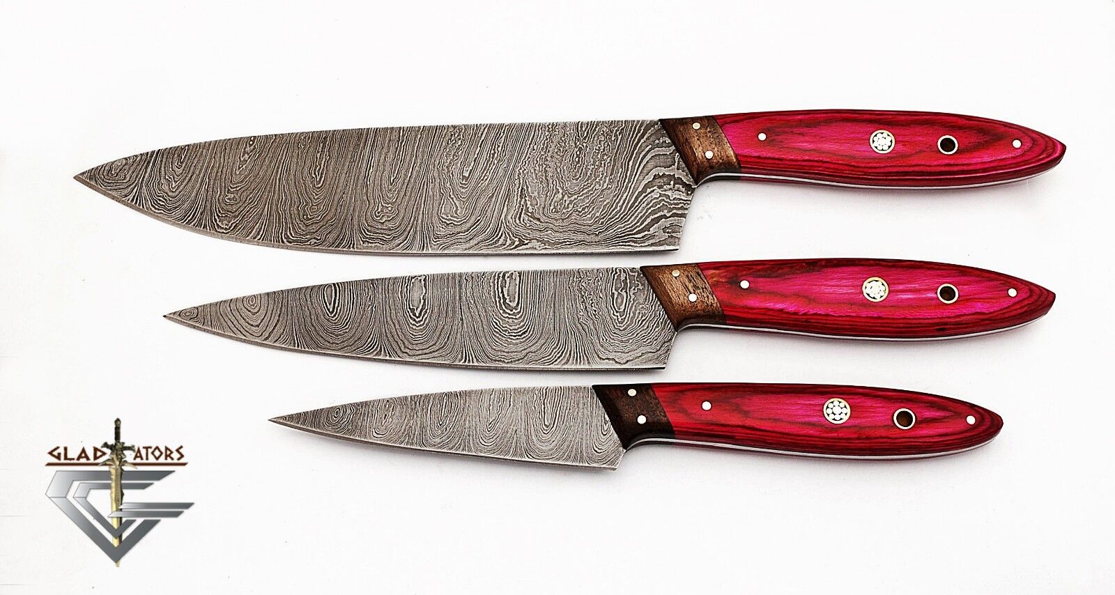 GladiatorsGuild Hand Forged rose 3 pcs Chef Kitchen Knife Set Damascus Steel