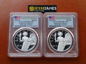 2016-W-amp-S-PROOF-SILVER-LIBERTY-MEDAL-PCGS-PR70-DCAM-FLAG-FIRST-DAY-OF-ISSUE-FDI
