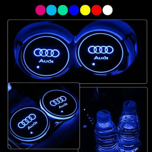 2X LED Car Cup Holder Mat Pad with USB for Audi Auto Interior Atmosphere Lights