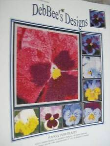 DebBee-039-s-Designs-Pansy-Portraits-Canvaswork-Booklet-8-Designs-84x84-Stitches-E