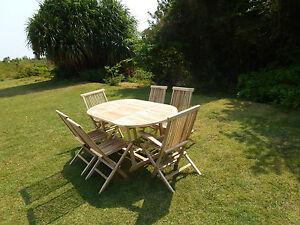 Salon de jardin en teck ensemble table SOLO + 4 chaises + 2 ...