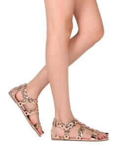 f78e0a14c81 New Women Liliana Jagger-27 Open Toe Metallic Grommet Gladiator Flat ...