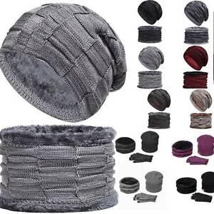 Men-039-s-Women-Balaclava-Hat-Scarf-Gloves-Winter-Knitted-Beanie-Warm-Hat-Cap-2-3PCS