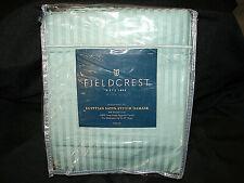 Fieldcrest Supima Cotton Sheet Set FULL 1000 TC Satin-Stitch Aqua Blue Gray Teal