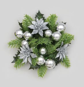 Christmas Candle Rings.Details About 3 Candle Ring Christmas Decoration Silver Berry Pine Poinsettia