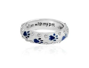 Blue-Enamel-CZ-Paw-Print-Stack-Ring