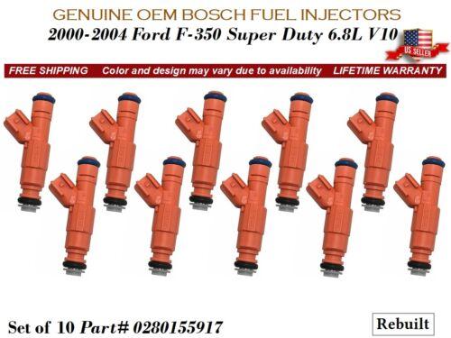 10 Fuel Injectors OEM Bosch 2000-2004 Ford F-350 Super Duty 6.8L V10 #0280155917