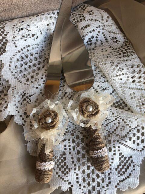 Rustic Wedding Burlap Lace Cake Knife Server Set For Sale Online