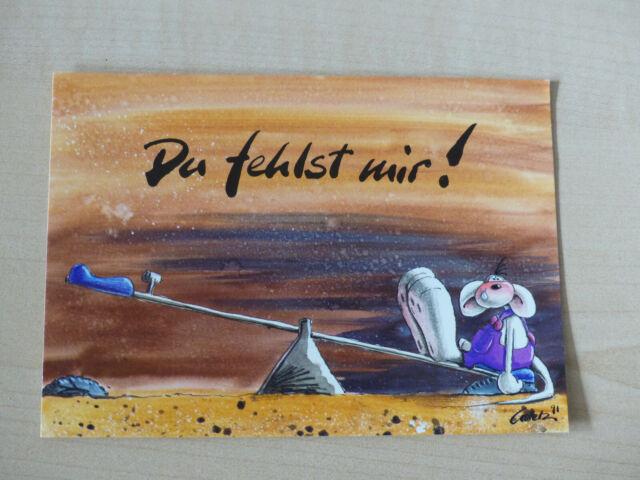 """Postkarte von Diddl """"Du fehlst mir"""" Nr. 71"""